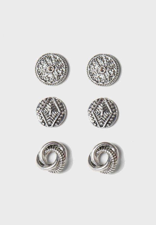 Multipack Detailed Stud Earrings