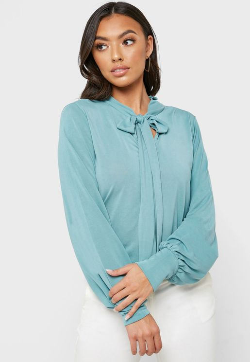 Cuffed Sleeve Tie Neck Top