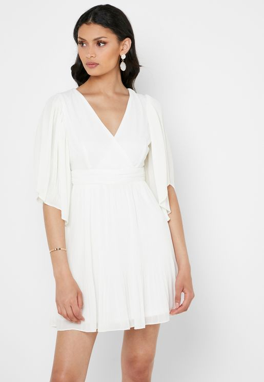 V-Neck Wrap Pleated Dress