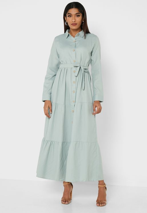 Button Down Belted Dress