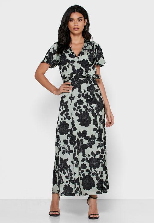 فستان لف مطبع مزين بكشكش