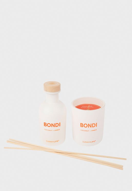 Coconut And Amber Bondi Candle And Diffuser Set