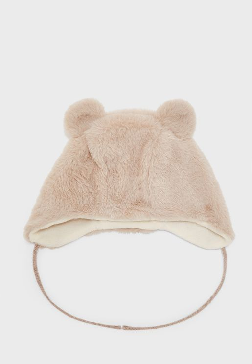 Infant Bear Fur Detail Beanies