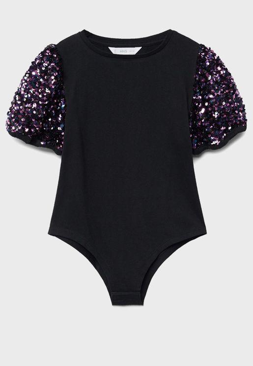 Kids Glitter Sleeve Bodysuit