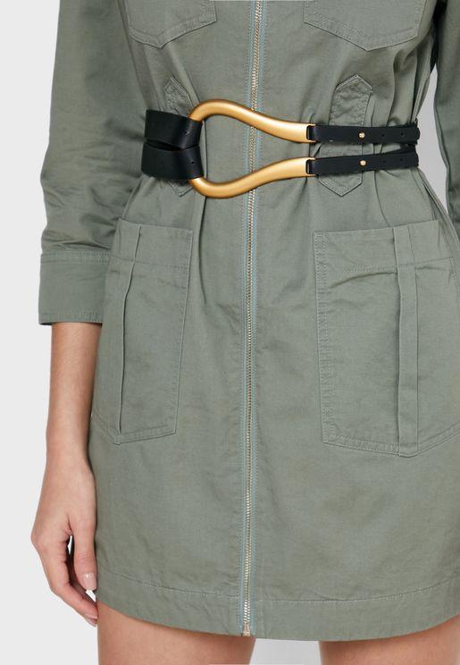 Hook Detail Long Tie Belt