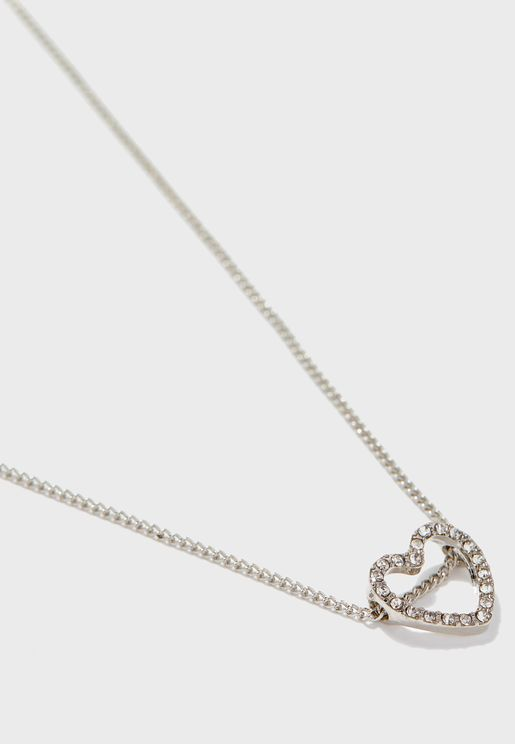 Open Dia Heart Pendant Necklace