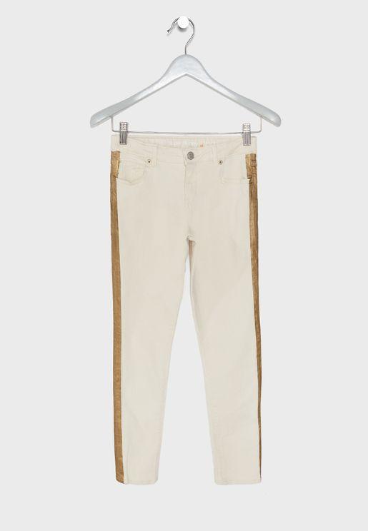 Kids Side Metallic Stripe Jeans