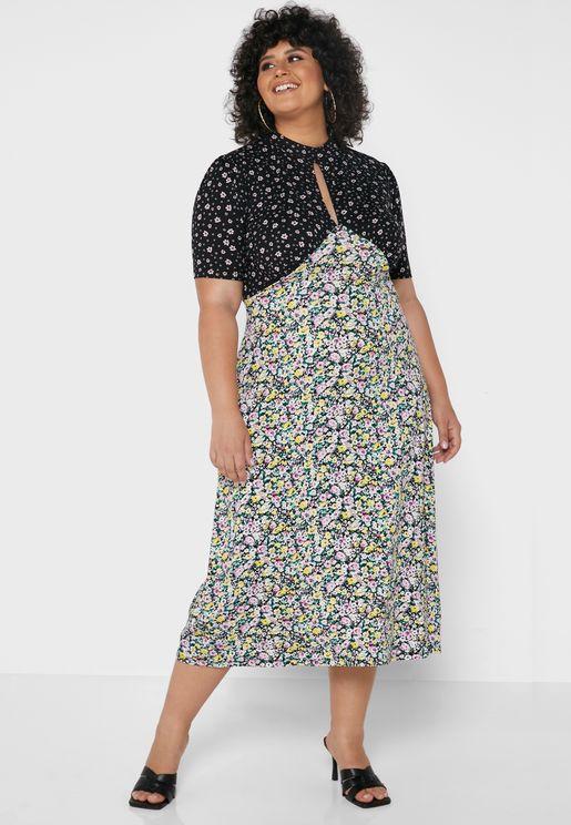 Mixed Print Jersey Midi Dress