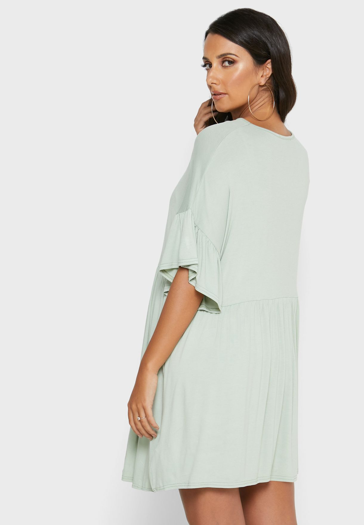 Frill Sleeve Smock Dress