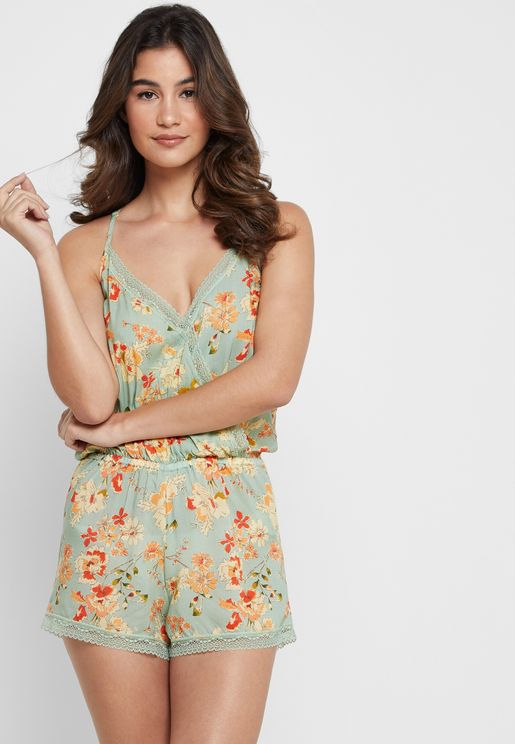 Floral Print Cami Night Playsuit