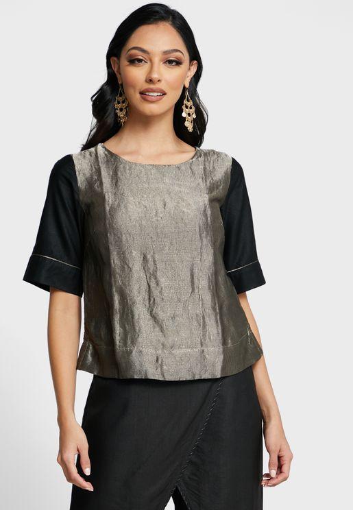 Wide Sleeve Brocade Top