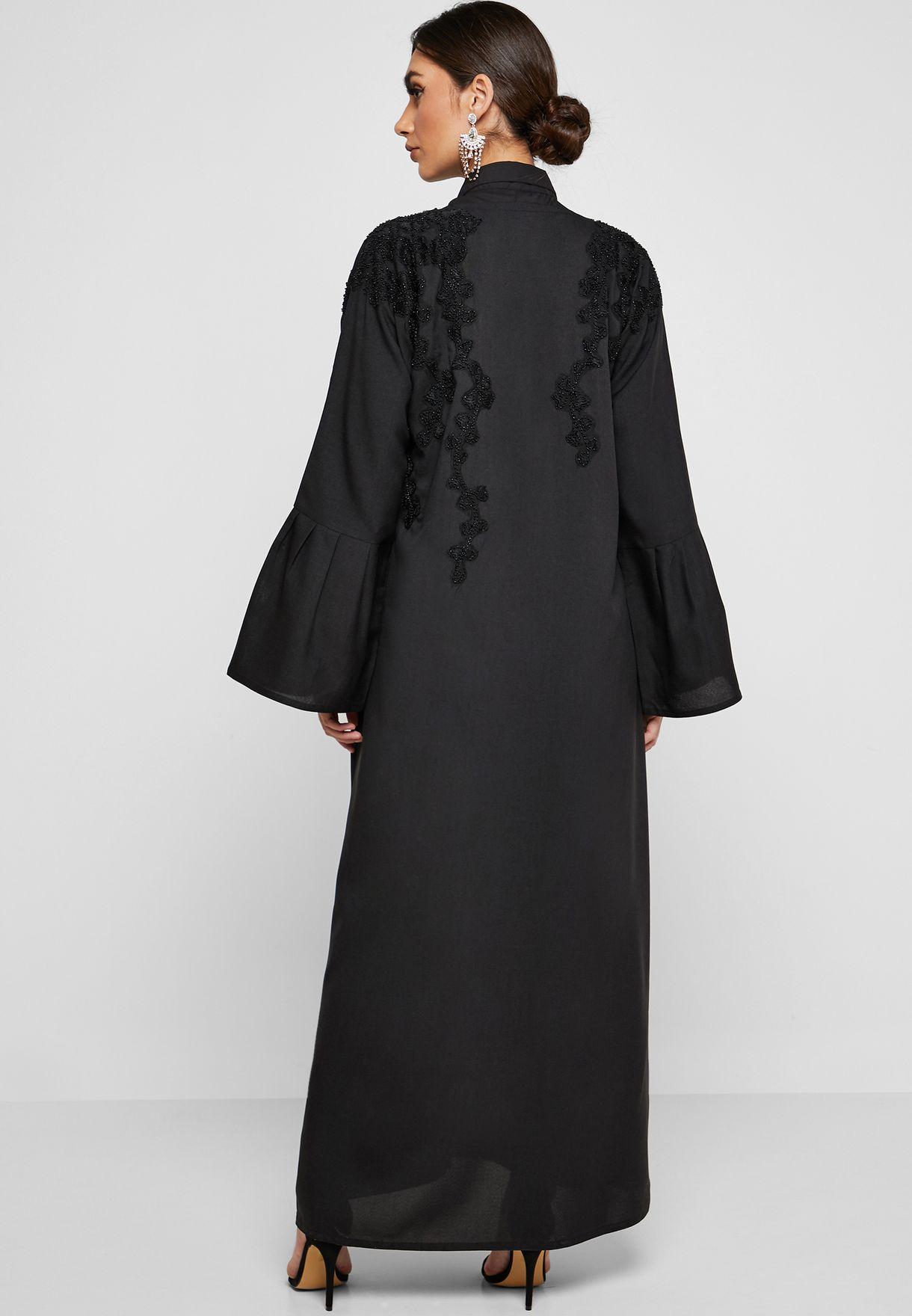 Pleated Sleeve Beaded Abaya