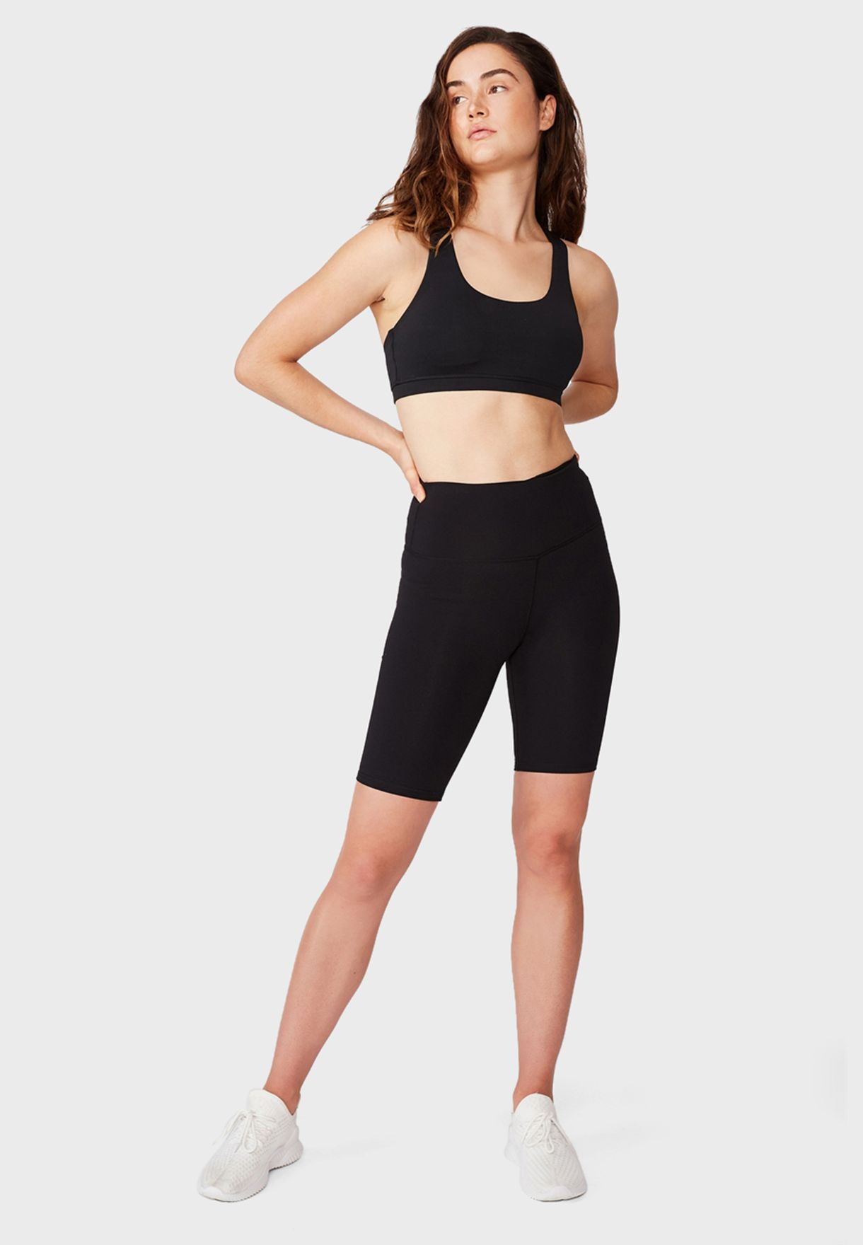 Highwaisted Mid Length Bike Shorts