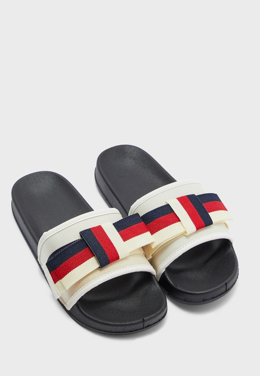 Striped Bow Sliders