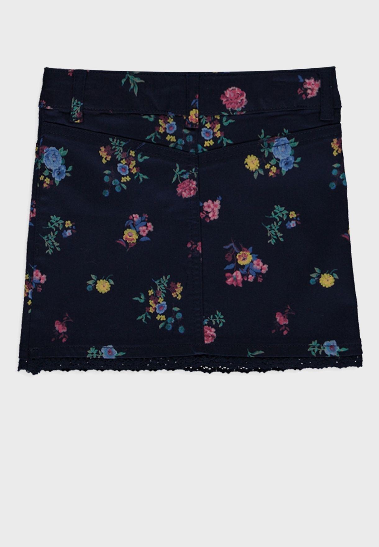 تنورة اطفال دانتيل بطبعات ازهار