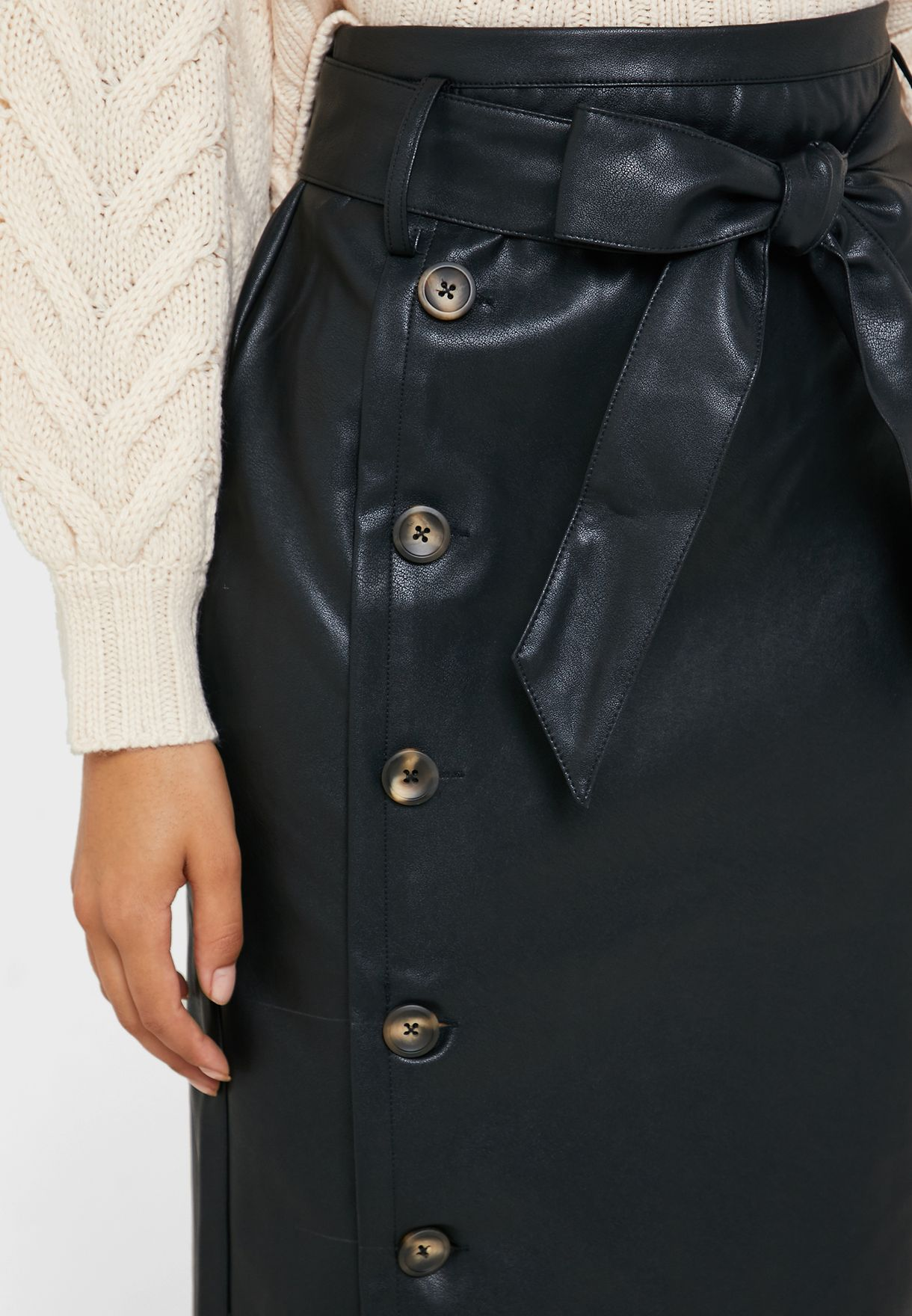 Belted Button Detail Midi Skirt
