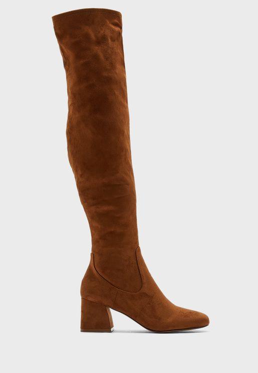 Delena Mid Heel Knee Boot