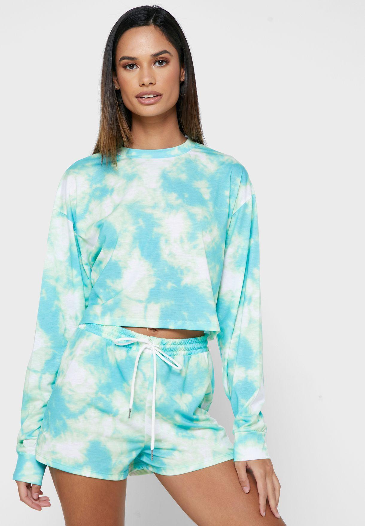 Tye Dye Print T-Shirt & Shorts Set