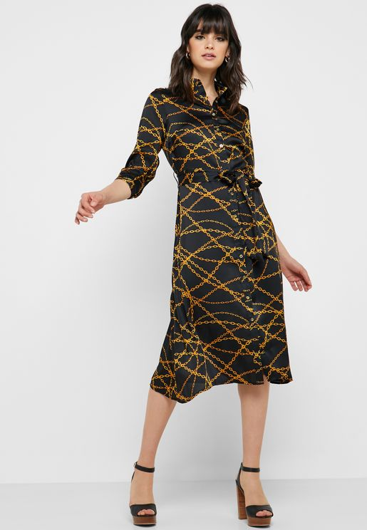 Belted Printed Shirt Dress
