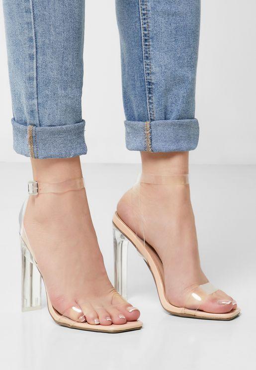 Square Toe Illusion Sandal - Nude