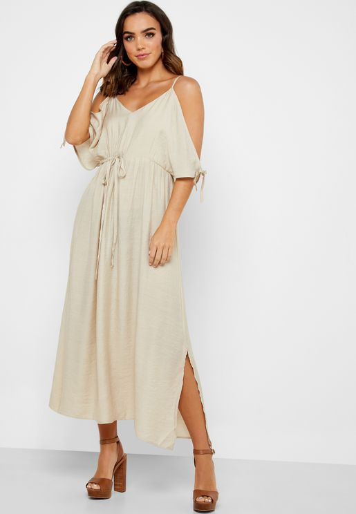 Cold Shoulder Drawstring Midi Dress