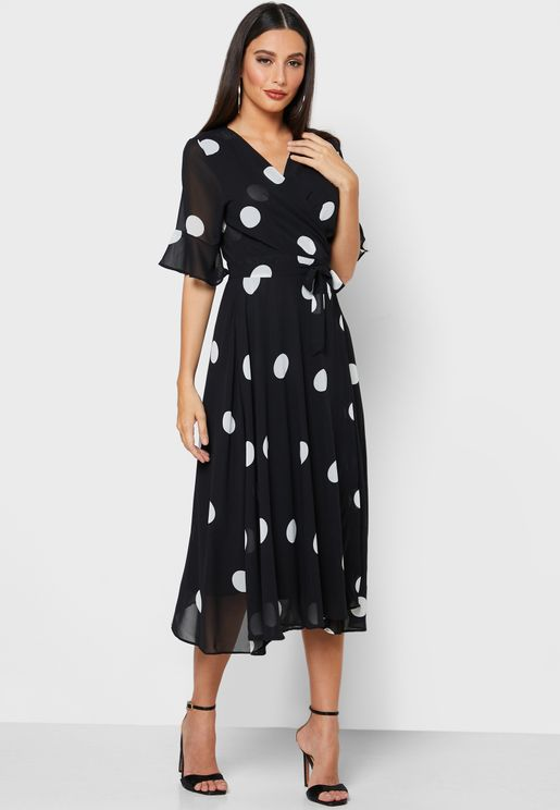 Polka Dot Wrap Front Midi Dress