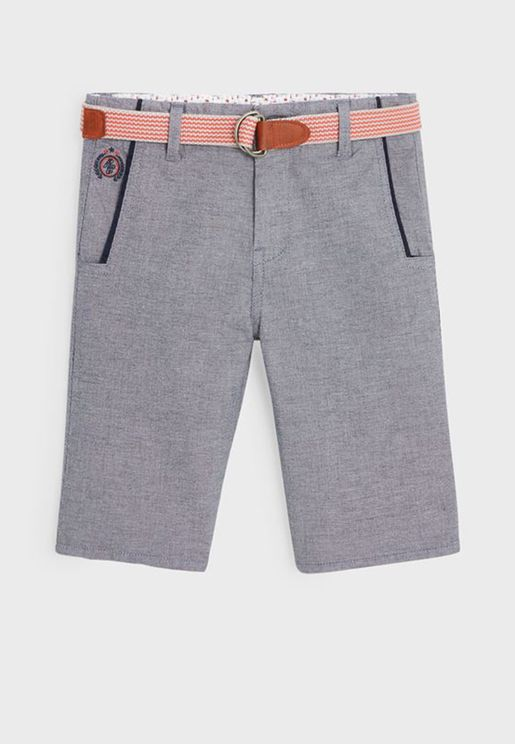 Youth Casual Shorts With Belt