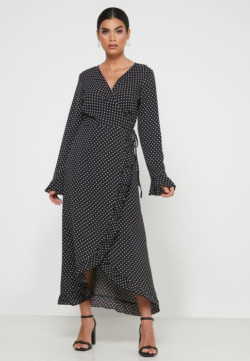 فستان لف منقط