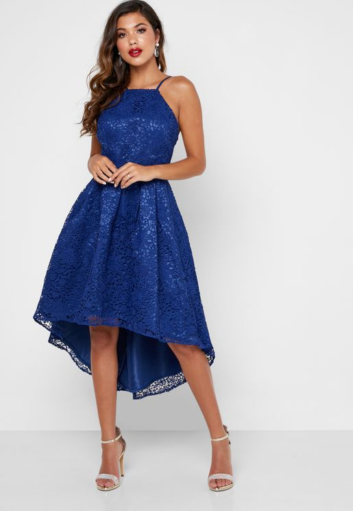 Lace High Low Skater Dress