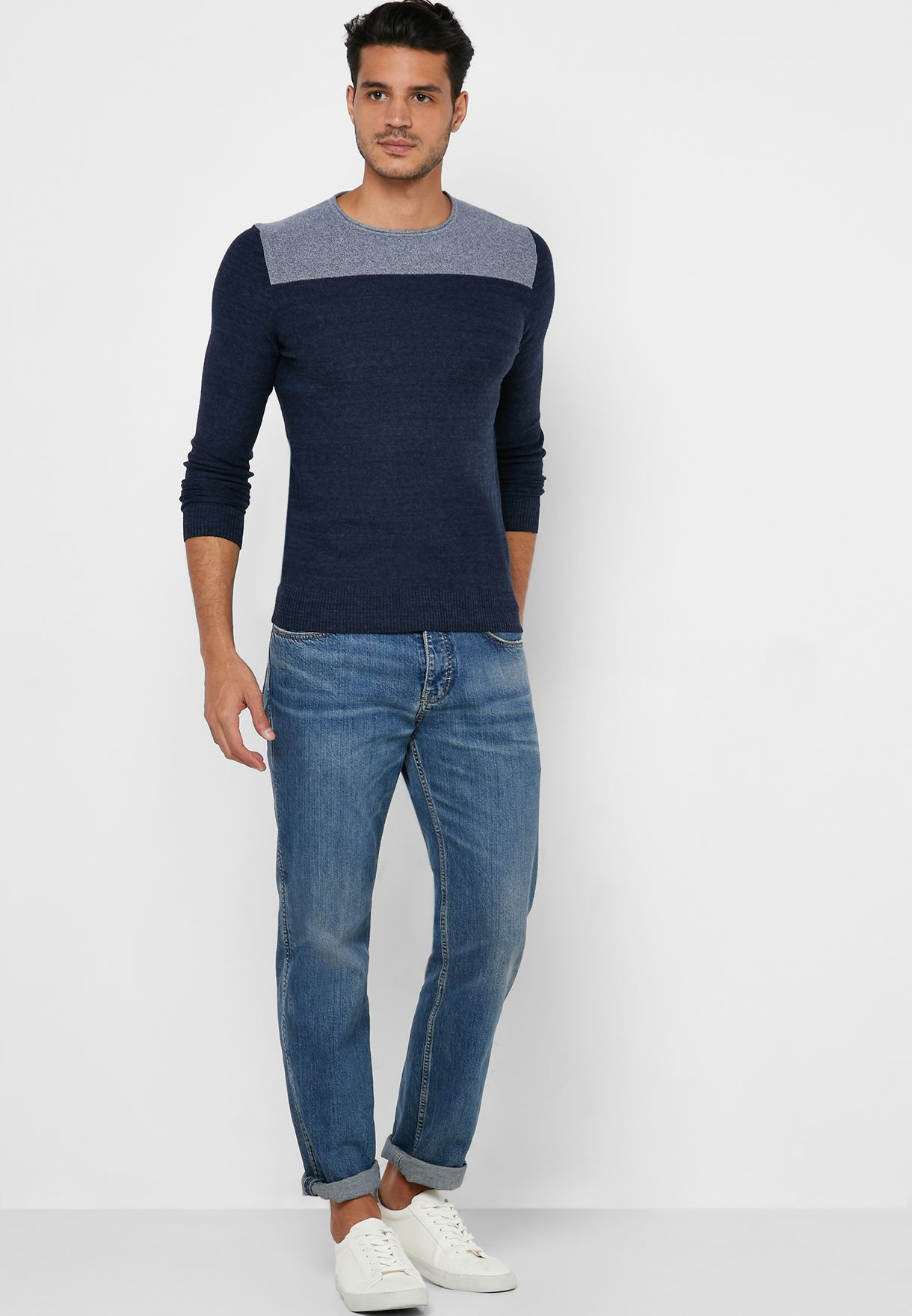 Textured Color Block Sweater