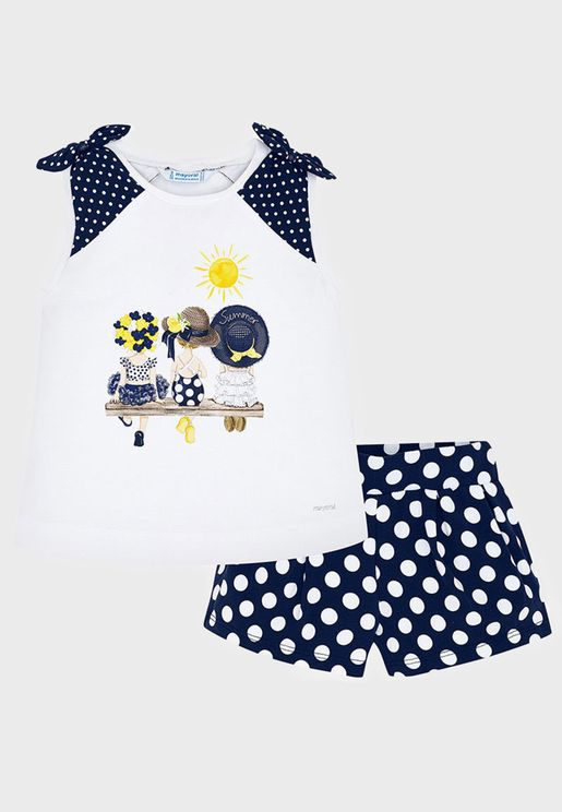 Kids Graphic Top + Polka Dot Shorts Set