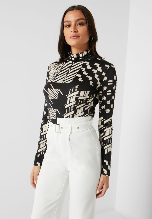 Lupetto High Neck Printed Top