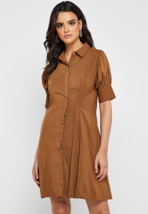فستان بنمط قميص بكسرات
