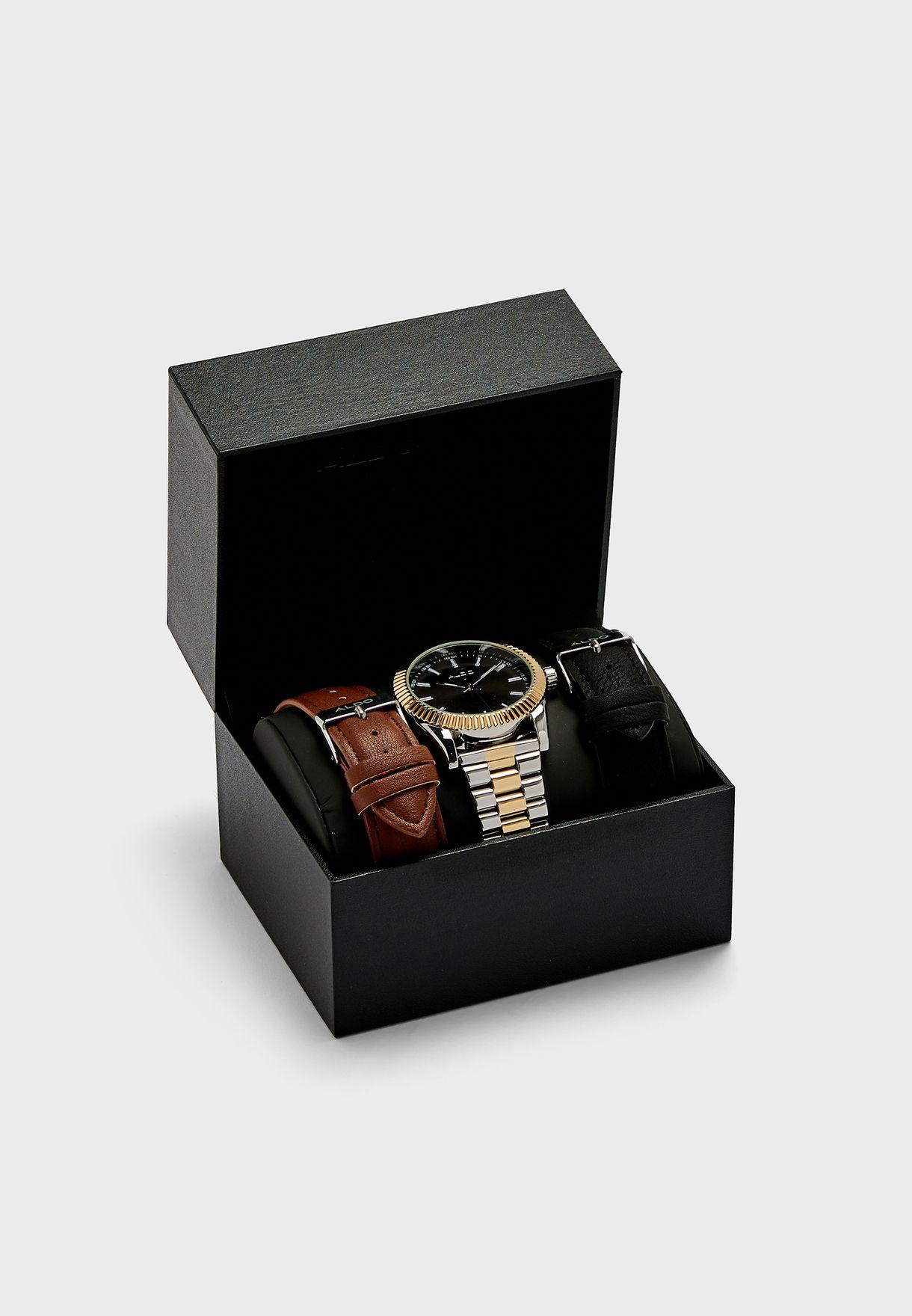 مجموعة من ساعة + 3 احزمة قابلة للتبديل