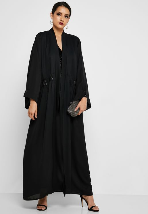 Ruched Waist Beaded Abaya