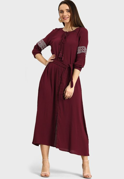 Tie Neck Knitted Dress