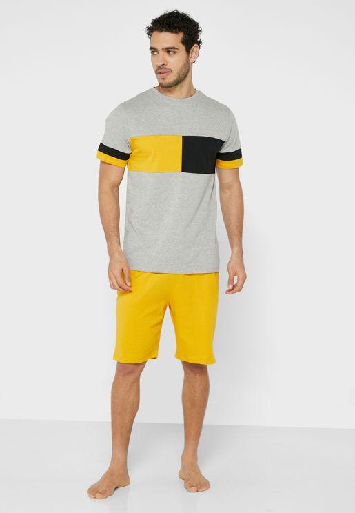 Colourblock T Shirt & Short Pyjama Set