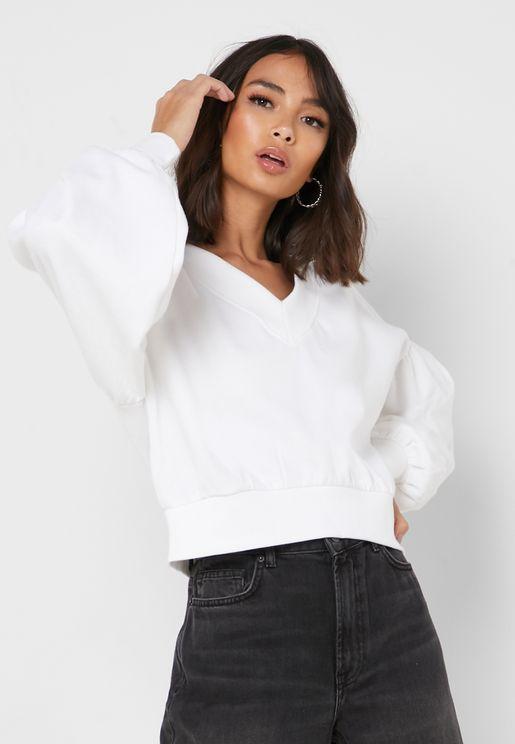 Puffed Sleeve V-Neck Sweatshirt