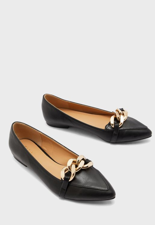 Chain Trim Pointed Flats