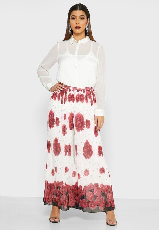 Floral Print Wide Leg Plisse Pants