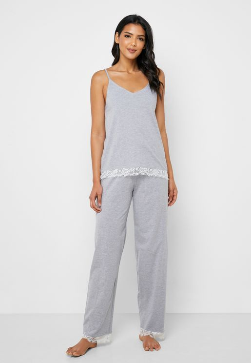 Lace Trim Cami Top & Pyjama Set