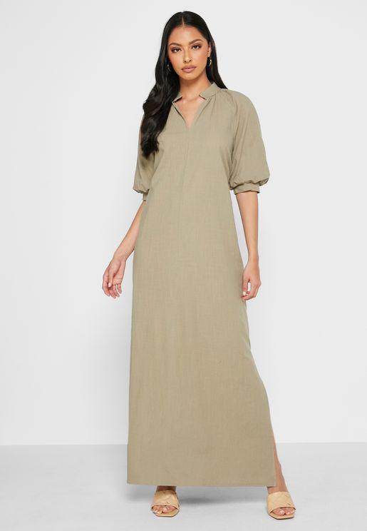 فستان فضفاض بأكمام منفوشة