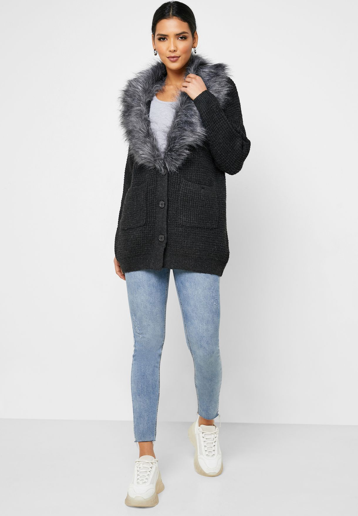 Fur Detail Cardigan
