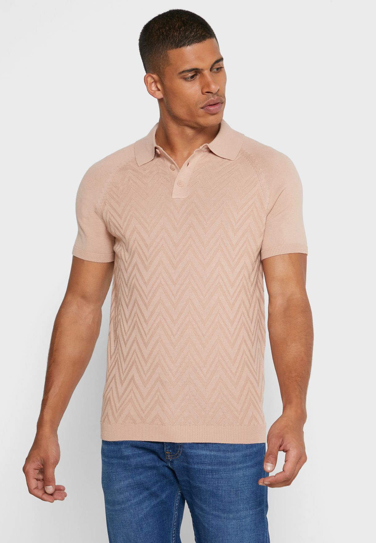 Textured Slim Fit Knitted Polo
