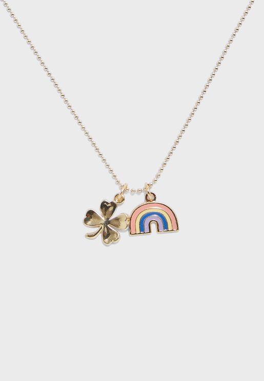 Kids Shamrock Rainbow Necklace