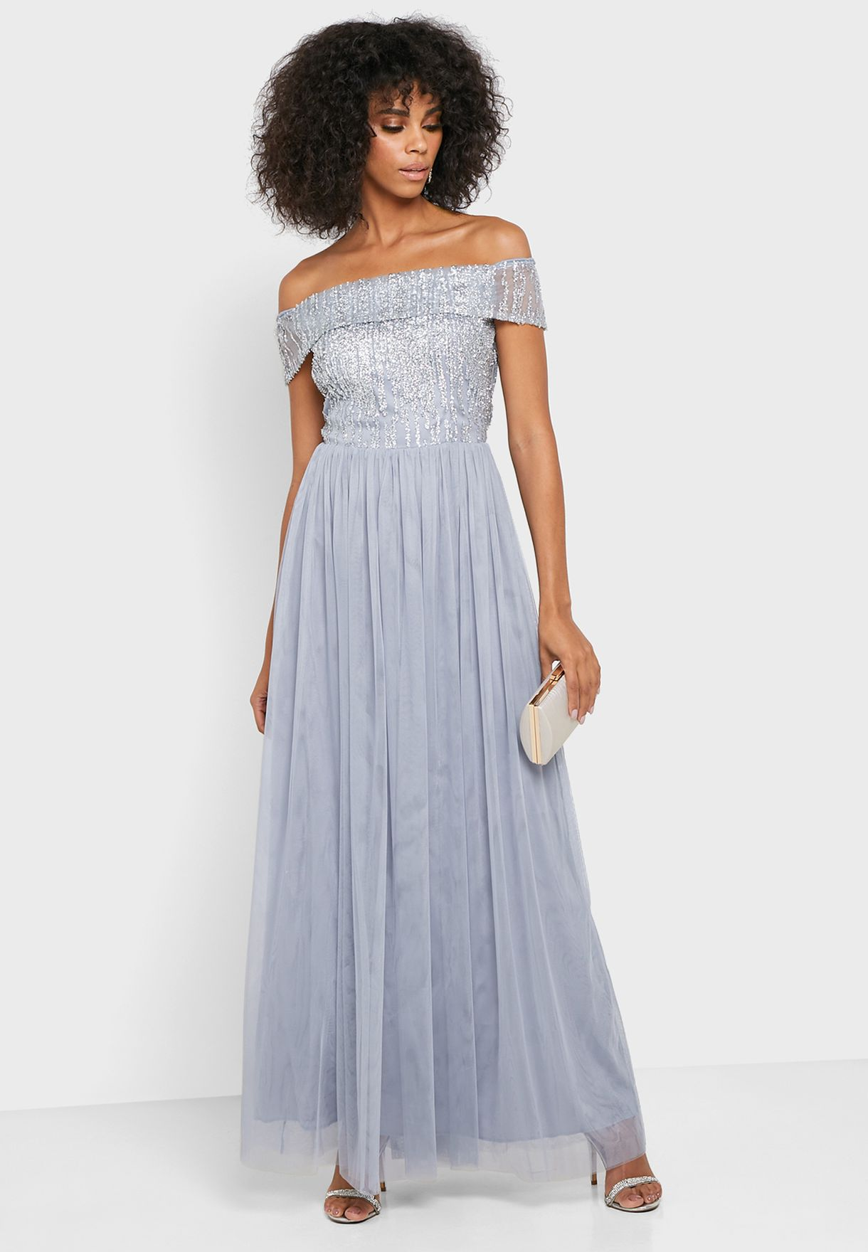 Sequin Top Bardot Maxi Dress