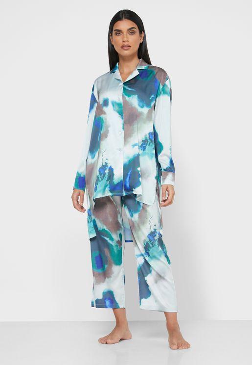 Printed Tunic Shirt Pyjama Set