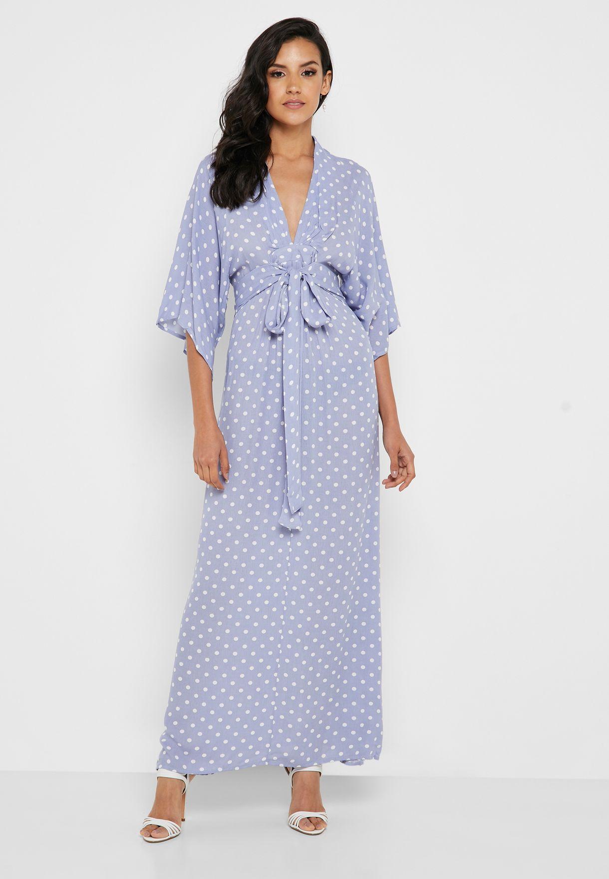 fbd7ad6b7 Shop Ella purple Polka Dot Kimono Sleeve Maxi Dress NL4822B for ...