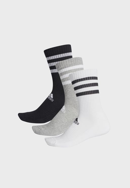3 Pack 3 Stripe Cushion Crew Socks