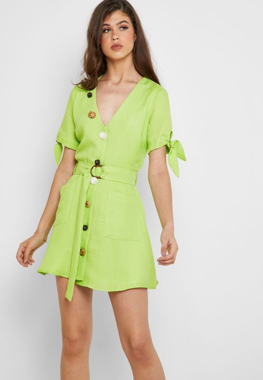 Button Detail Belted Dress